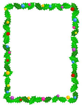 Hermoso marco de acebo de Navidad con hojas de acebo y adornos de colores decorativos