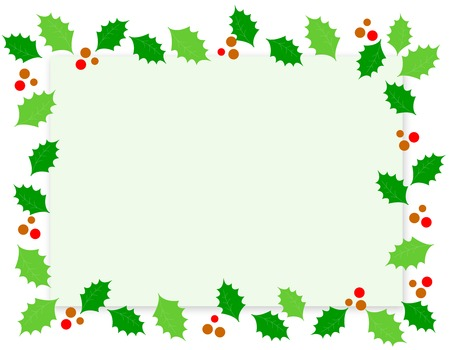 Simple holly and red berries christmas border  frame on white background