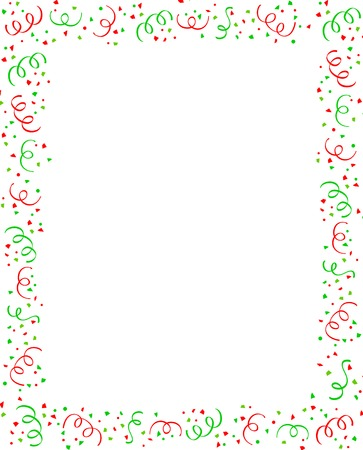 x mas parties: Red and green falling confetti christmas party frame with empty space in center Illustration