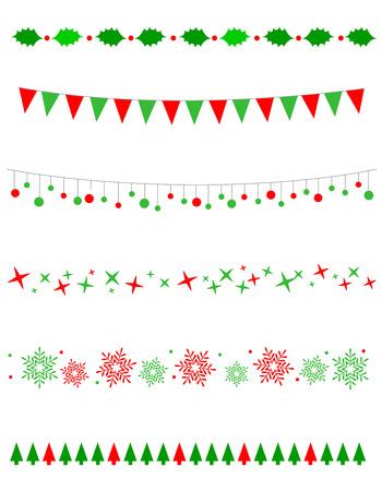 bordes decorativos: Colección de las fronteras de la Navidad  gráficos divisores incluyendo la frontera del acebo, bulbos  patrón luces, árboles de navidad y las estrellas de la nieve