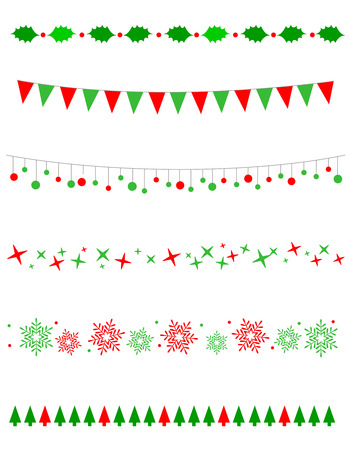 Collection on christmas borders / divider graphics including holly border, bulbs / lights pattern, christmas trees snow and stars Illustration