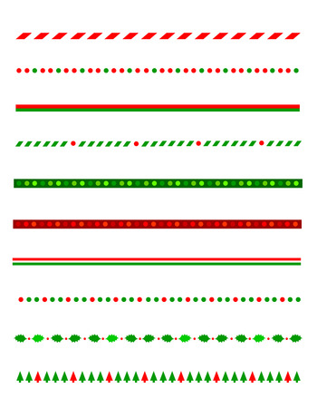 Collection of simple christmas themed borders  divider graphics including holly border, candy cane pattern, christmas trees and more Illustration