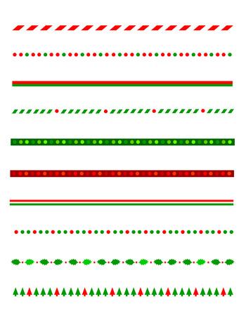 Verzameling van eenvoudige kerst thema grenzen  divider graphics inclusief hulstgrens, snoep riet patroon, kerstbomen en meer