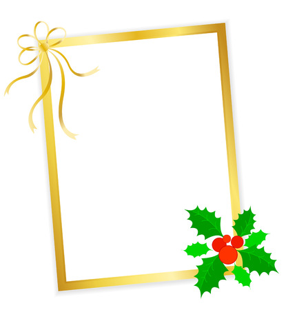 x mas parties: Golden x-mas frame with Christmas holly and berries and gold ribbon bow Illustration