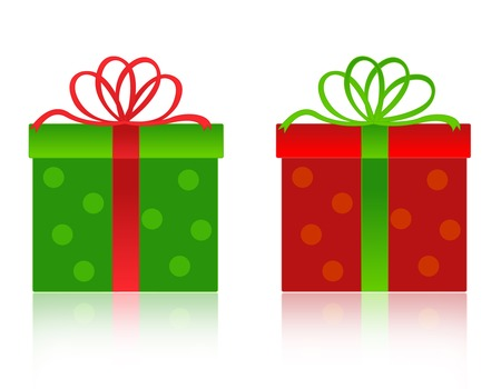 x mas parties: Nicely wrapped red christmas gift box with green ribbon and bow. and green box with red ribbon and bow isolated on white background Illustration