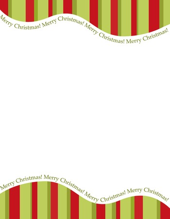 Retro striped frame with red and green  stripes with merry christmas letters. christmas candy cane border, header or footer
