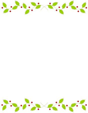 Hermosa acebo y bayas Marco / frontera con el espacio vacío. Foto de archivo - 38550002