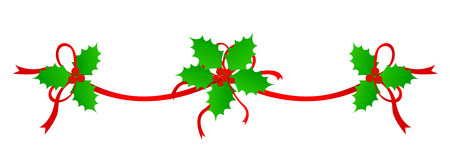 Clean Holly leaves and berries with red ribbons Christmas decoration /holiday border /divider