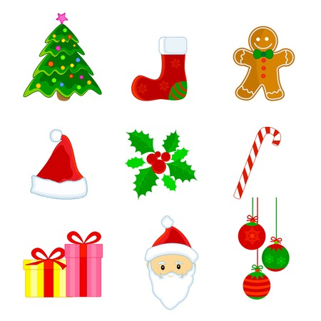 Cute christmas web icon  clipart set isolated on white background. Vector