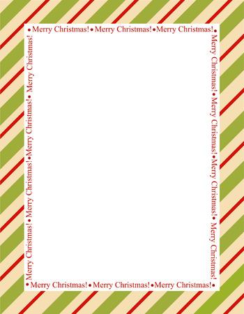 Cadre rayé rétro avec des rayures rouges et vertes avec des lettres de joyeux noël. noël sucre de canne frontière