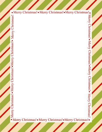 Retro striped frame with red and green  stripes with merry christmas letters. christmas candy cane border
