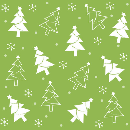 x mas background: Beautiful green and white christmas tree and falling snow seamless pattern specially for christmas and winter themed web sites and designs