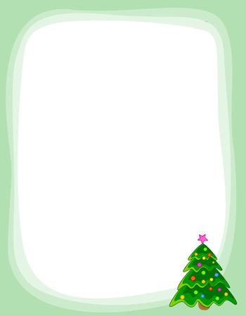 decorated christmas tree: Christmas border  frame with beautiful decorated christmas tree Illustration