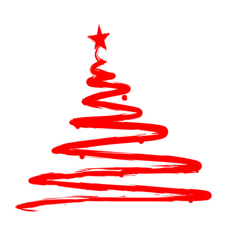mas: Red Christmas Tree silhouette. Hand drawn  painted artistic illustration of a x mas tree isolated on white background
