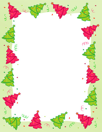 christmas x mas: Beautiful christmas trees with colorful falling confetti frame