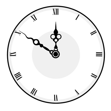 duration: Black and white antique looking clock face isolated on white background Illustration