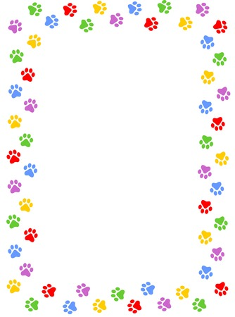 Colorful dog paw print frame / border on white background