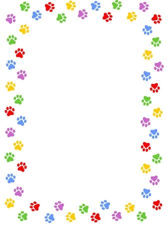 paw paw: Colorful dog paw print frame  border on white background
