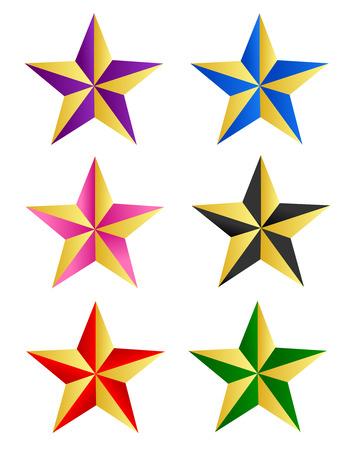 clip art: Colorful collezione d'arte di clip star isolato su sfondo bianco Vettoriali
