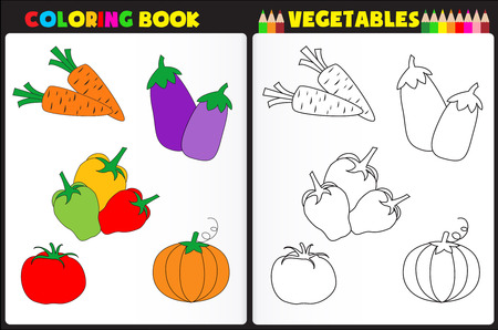 printable coloring pages: Nature coloring book page for preschool children with colorful vegetables and sketches to color