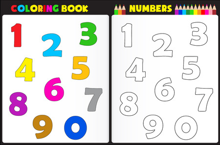 Coloring book page for preschool children with colorful numbers and sketches to color