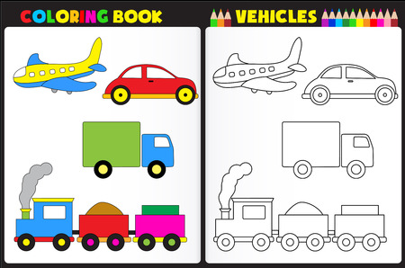 Coloring book page for pre school childern with colorful vehicles toys and sketches to color