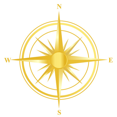 magnetic clip: Illustration of a gold compass with all directions north east south and west isolated on white background. Illustration