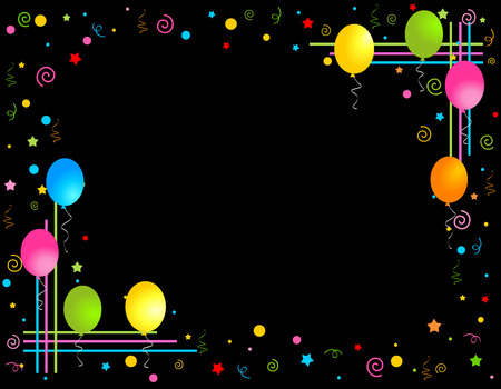 special occasion: Colorful balloons isolated on black background illustration, Greeting card  invitation border and frame Illustration