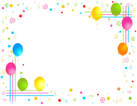 Colorful balloons isolated on white background illustration, Greeting card / invitation border and frame