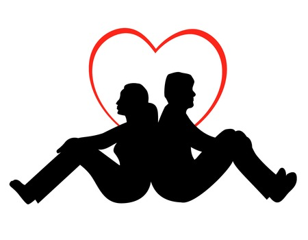 couple back to back: Man and woman  young couple in love back to back illustration isolated on white background and heart