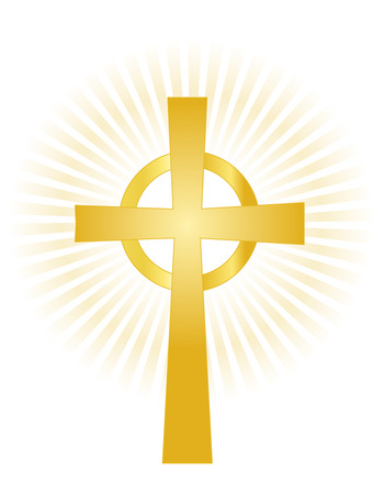빛나는 배경에 골드 거룩한 십자가의 그림은 흰색에 고립