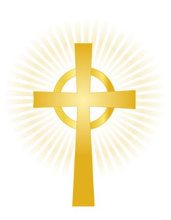pasqua cristiana: Illustrazione di una Santa Croce in oro su sfondo incandescente isolato su bianco