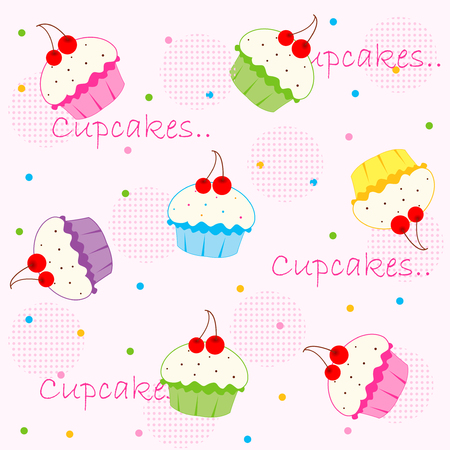 frosting: Sweet colorful cupcakes seamless pattern  background Illustration