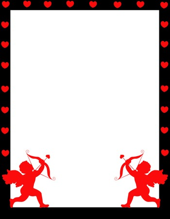 Valentines day border  frame with two cupids on footer corners