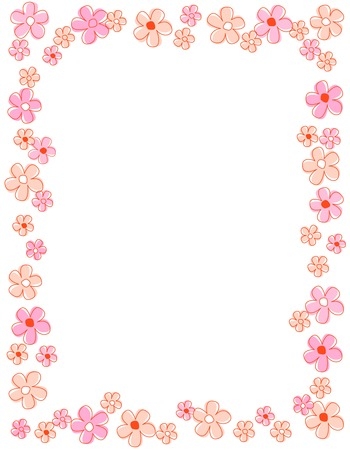 pink flower: Colorful spring flowers border  frame Illustration