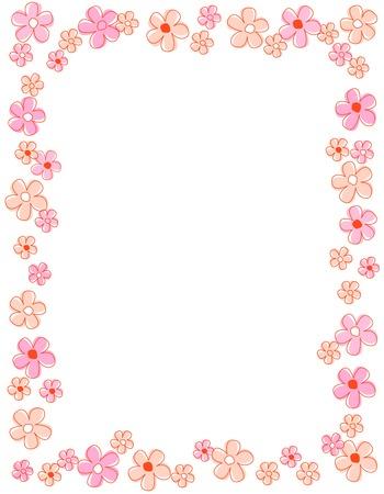 borde de flores: Coloridas flores de primavera Frontera  marco Vectores