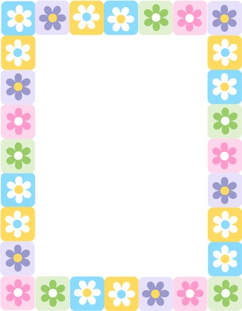 White daisies on colorful squares spring frame / border