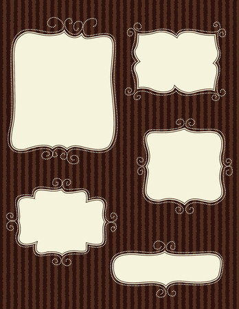dark brown background: Collection of nice doodle frames on dark brown background. specially for scrap booking