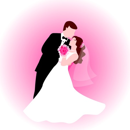 Silhouette of a dancing couple [bride and groom]with cute pink background. Illustration for wedding, bridal party invitations and greeting cards Vectores