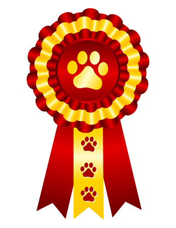 award ribbon rosette: Dog competition winner gold award ribbon  stamp seal with red ribbon and paw print on center