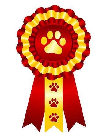 Pies zwycięzcą konkursów nagrody złota wstążka / uszczelnienie znaczek z czerwoną wstążką i druk łapy na centrum Ilustracje wektorowe