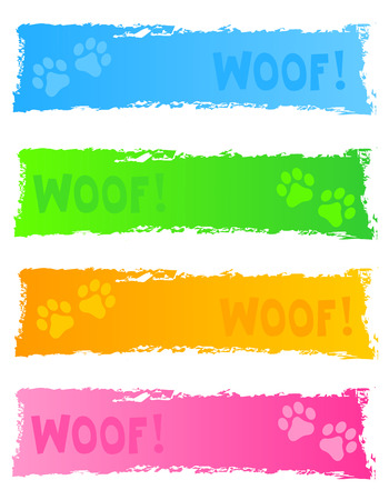 Grunge and colorful dog themed web banner header collection on white background Vector