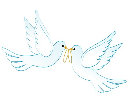 outline wedding: Illustration of two white pigeons  doves carrying two golden rings isolated on white background Illustration
