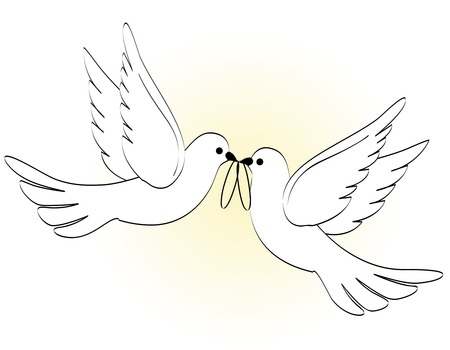 Illustration of two white pigeons / doves carrying two wedding rings on light yellow backgound Иллюстрация