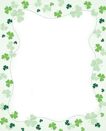 Green clover st. Patricks Day Background  Border Vector