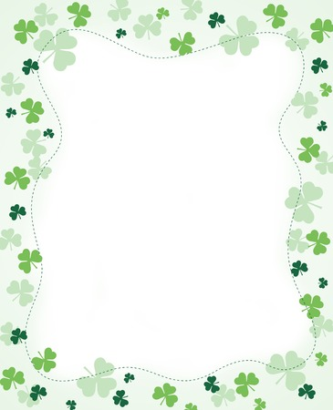 Green clover st. Patrick's Day Background / Border Иллюстрация