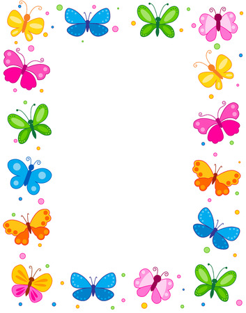 red and blue: Colorful butterflies border  frame  background Illustration