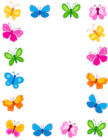 Colorful butterfly frame with differend shaped and colored butterfly collection and empty white space on center