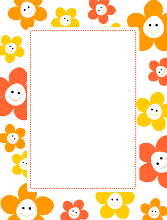 Colorful sprin flower border  frame with happy smiling faces on center