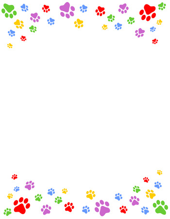 Colorful dog paw prints top and bottom border  header and footer on white background Ilustracja